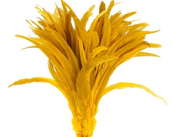 """Rooster Tail Feathers, GOLD 16-18"""" Strung Bleach Dyed Coque Tails, Wholesale Feathers Bulk ZUCKER®"""