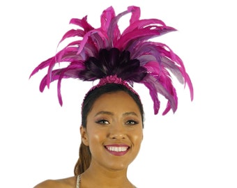 Crescent Moon Feather Costume Headband for Carnival & Samba - ZUCKER® Feather Place Original Designs - Unique Fantasy Costume Dance Wear