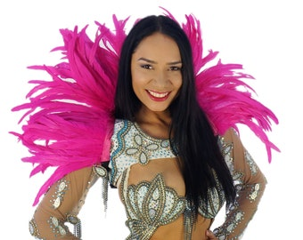 SHOCKINGPINK Carnival Feather Collar - Samba Dancewear, Feather Back Piece, Costume Accessory   ZUCKER® Feather Place Original Designs
