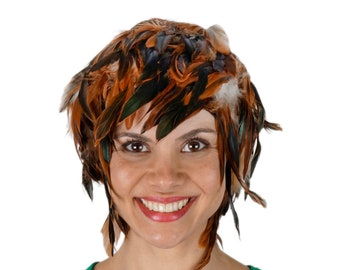 Brown Feather Wig, Natural Half Bronze Rooster Schlappen Feather Wig, Costume, Halloween & Carnival, Photography Props, Costume Wigs ZUCKER®