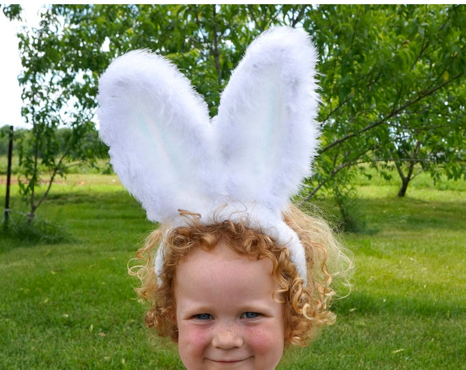 Featured listing image: Easter Bunny Ears with Marabou Feather Details - White Bunny Costume Headband - Rabbit Halloween Costume Ears ZUCKER™