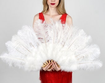 WHITE Ostrich and Marabou Feather Fan - For Burlesque Fan Dance, Boudoir Photoshoot Accessory, Showgirl Costume & Halloween Events ZUCKER®