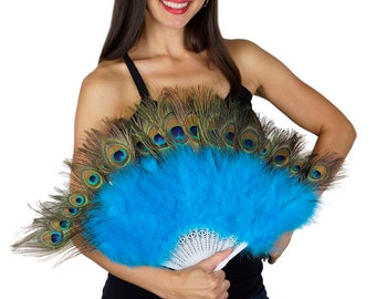 TURQUOISE Peacock & Marabou Feather Fans - Perfect for Peacock Theme Events and Weddings, Great Gatsby, Roaring 20's Costume Party  ZUCKER®