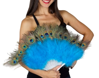 TURQUOISE Peacock & Marabou Feather Fans - Perfect for Peacock Theme Events and Weddings, Great Gatsby, Roaring 20's Costume Party  ZUCKER™