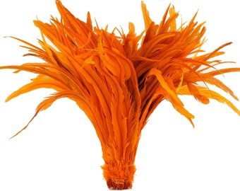 "Rooster Tail Feathers, ORANGE 16-18"" Strung Bleach Dyed Coque Tails, Wholesale Feathers Bulk ZUCKER®"