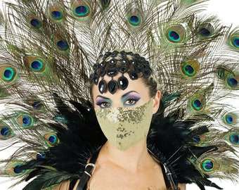 Natural Peacock Collar with Gold Sequin Mask, 3 in 1 Collar, Headdress, Bustle and Mask For Halloween, Masquerade & Costume Parties ZUCKER®
