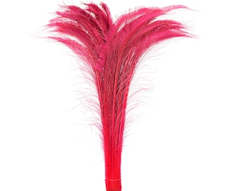 "Long Bleach Dyed Peacock Swords 25-40"" Hot PINK, 10 to 100 Piece, Floral Decor, Millinery, Costume ZUCKER® Dyed & Sanitized in USA"