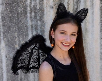 Teen Costume Bat Wings and LED Headband Set - For Halloween Mask, Cosplay, Masquerade Ball, Festivals, Parties and Special Events ZUCKER®