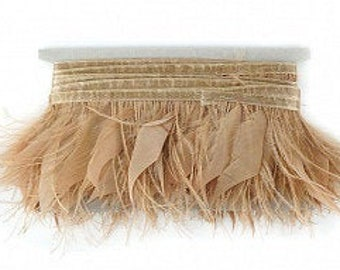 Ostrich and Goose Feather Fringe, BULK 5YD Beige Feather Trim for DIY Crafts, Carnival, Cosplay, Costume, Millinery & Fashion Design ZUCKER®