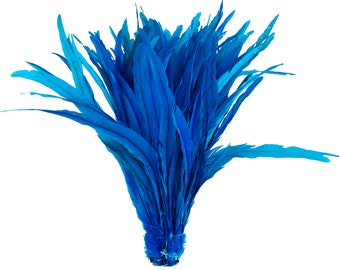 """Rooster Tail Feathers, DARK TURQUOISE 16-18"""" Strung Bleach Dyed Coque Tails, Wholesale Feathers Bulk ZUCKER®"""