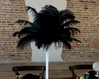 BLACK Ostrich Feather Centerpiece Sets with Eiffel Tower Vase - For Great Gatsby Party, Special Event & Wedding Reception Decor ZUCKER®