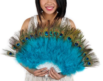Peacock Feather Fan with Dark Aqua Marabou, Feather Fan for Special Events and Weddings, Great Gatsby, Roaring 20's Costume Party  ZUCKER®