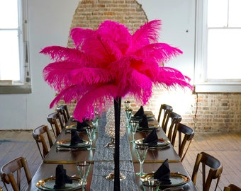 SHOCKING PINK Ostrich Feather Centerpiece Sets w/Eiffel Tower Vase - For Great Gatsby Party, Special Event & Wedding Reception Decor ZUCKER®