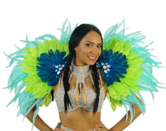 Carnival Princess Feather Costume Epaulets for Carnival & Samba - ZUCKER® Feather Place Original Designs - Unique Fantasy Costume Dance Wear