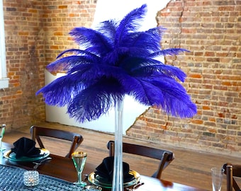 REGAL Ostrich Feather Centerpiece Sets with Eiffel Tower Vase - For Great Gatsby Party, Special Event & Wedding Reception Decor ZUCKER®