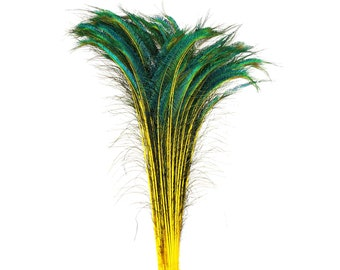 "Long Peacock Swords 10 to 100 Pc 25-40"" Stem Dyed YELLOW Floral Decor, Wedding Centerpiece, Wholesale Feather ZUCKER® Sanitized USA"