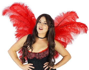 Red Angel Fairy Costume Ostrich Feather Wings - ZUCKER™ Feather Place Original Designs - Unique Premium Fantasy Costume & Cosplay Wings