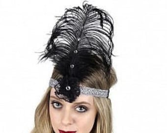 Black and Silver Flapper Great Gatsby Roaring 20's Feather Headband -  Halloween Costume Ostrich Feather Headband ZUCKER®