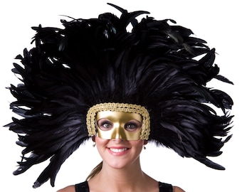 BLACK Feather Headdress with Gold Removable Masquerade Mask -  Cultural Dance, Carnival and Halloween Costume Feather Headdress ZUCKER®