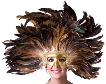 NATURAL Feather Headdress with Gold Removable Masquerade Mask - Cultural Dance, Carnival & Halloween Costume Feather Headdress ZUCKER®