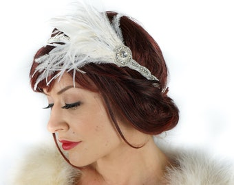 White & Ivory Elegant Feather Headband w/Rhinestone Accent - Special Event, Prom and Bridal Feather Headband and Fashion Accessory ZUCKER®