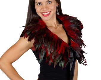 RED Feather Collar W/Satin Ribbon Ties - Festival Wear, Burning Man, Mad Max,Rave Wear, Cosplay ZUCKER®  Feather Place Original Designs