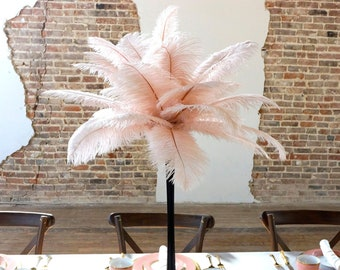 CHAMPAGNE Ostrich Feather Centerpiece Sets with Eiffel Tower Vase - For Great Gatsby Party, Special Event & Wedding Reception Decor ZUCKER®