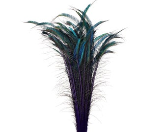 "Long Peacock Swords 10 to 100 Pcs 25-40"" Stem Dyed REGAL Purple, Floral Decor, Wedding Centerpiece, Wholesale Feather ZUCKER® Sanitized USA"