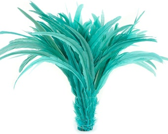 """Rooster Tail Feathers, LIGHT TURQUOISE 16-18"""" Strung Bleach Dyed Coque Tails, Wholesale Feathers Bulk ZUCKER®"""