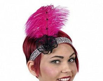 Pink and Silver Flapper Great Gatsby Roaring 20's Feather Headband -  Halloween Costume Ostrich Feather Headband ZUCKER®