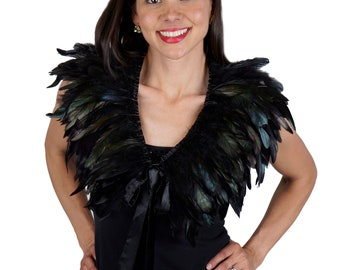 BLACK Feather Collar W/Satin Ribbon Ties - Festival Wear, Burning Man, Mad Max,Rave Wear, Cosplay ZUCKER® Feather Place Original Designs