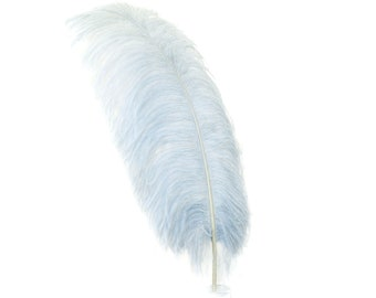 "Large Ostrich Feathers,1 Piece 17-25"" Prime Ostrich Femina Wing Plume, SILVER, Hat Feather, Floral Centerpiece,Carnival Feathers ZUCKER® USA"