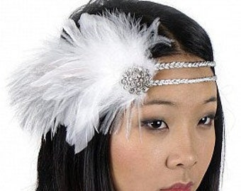 White and Silver Great Gatsby - Harlem Nights - Roaring 20's - Costume Feather Headband & Fashion Accessory ZUCKER®