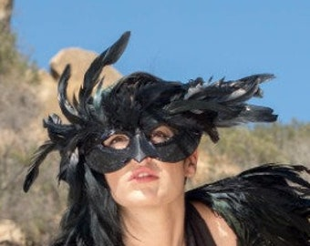 Black Raven Feather Costume Mask - Crow, Blackbird, Raven Costume, Masquerade Feather Mask for Men and Women ZUCKER®