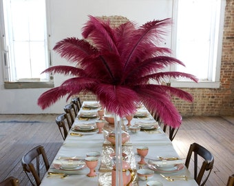 BURGUNDY Ostrich Feather Centerpiece Sets CLEAR Eiffel Tower Vase - For Great Gatsby Party, Special Event & Wedding Reception Decor ZUCKER®