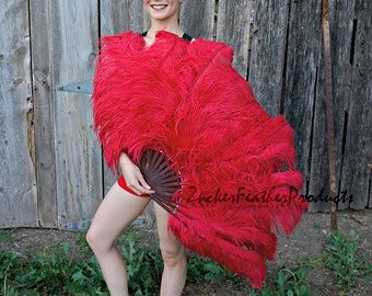 RED Large Ostrich Feather Fan - For Burlesque Fan Dance, Showgirl Costume, Boudoir Photoshoots & Halloween Accessories ZUCKER®