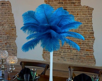 TURQUOISE Ostrich Feather Centerpiece Set WHITE Eiffel Tower Vase For Great Gatsby Party, Special Event & Wedding Reception Decor ZUCKER®