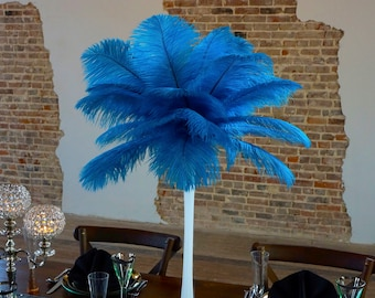 DK. TURQUOISE Ostrich Feather Centerpiece Sets w/Eiffel Tower Vase - For Great Gatsby Party, Special Event & Wedding Reception Decor ZUCKER®