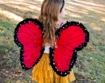 Red and Black Butterfly Angel Wings, Red Ladybug Costume Wings For Halloween Costume ZUCKER®
