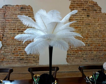WHITE Ostrich Feather Centerpiece Sets with Eiffel Tower Vase - For Great Gatsby Party, Special Event & Wedding Reception Decor ZUCKER®