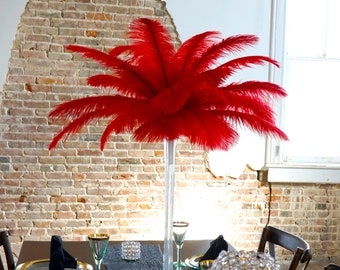 RED Ostrich Feather Centerpiece Sets with CLEAR Eiffel Tower Vase - For Great Gatsby Party, Special Event & Wedding Reception Decor ZUCKER®