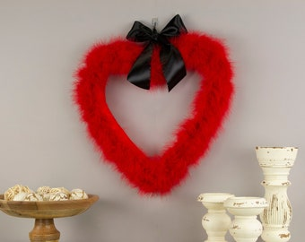 Decorative Red Heart Shaped Feather Wreath, Wedding, Engagement, Valentines Day, Door Wreath & Wall Decor for Home and Office ZUCKER®
