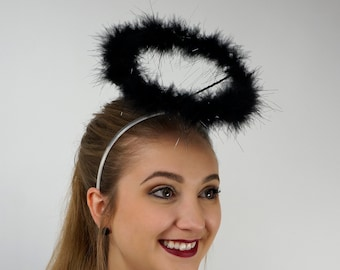 Marabou Feather Angel Costume Halo, Black with LED Lights Angel Halo, Angel Halo, Black Halo, Halloween or Holiday Costume ZUCKER®