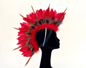 Custom Red Feather Mohawk Headdress with Natural Pheasant, Warrior Headdress for Halloween ZUCKER® Feather Place Original Designs