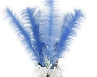 Faux Ostrich Feather Stems, Blue Large Fake Ostrich Feathers, Fake Feathers for Centerpieces, Party Decor, Carnival, Costume Design ZUCKER®