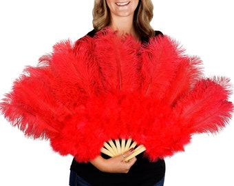 RED Ostrich and Marabou Feather Fan - For Burlesque Fan Dance, Boudoir Photoshoot Accessory, Showgirl Costume & Halloween Events ZUCKER™