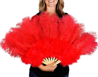 RED Ostrich and Marabou Feather Fan - For Burlesque Fan Dance, Boudoir Photoshoot Accessory, Showgirl Costume & Halloween Events ZUCKER®