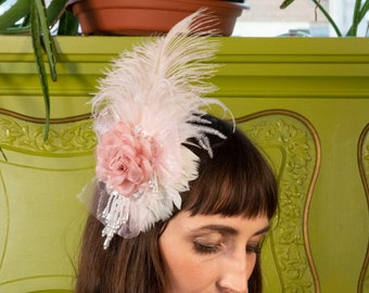 Victorian Inspired Pink Feather Fascinator with Rose & Pearl Accents For Costume Parties, Halloween, Weddings and Special Events ZUCKER®