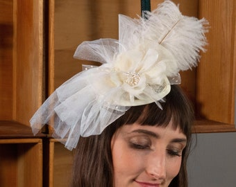 Vintage Inspired Ivory Feather Fascinator with Tulle Bow & Flower For Costume Parties, Halloween, Weddings and Special Events ZUCKER®