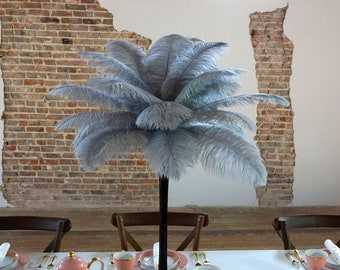 SILVER Ostrich Feather Centerpiece Sets with Eiffel Tower Vase - For Great Gatsby Party, Special Event & Wedding Reception Decor ZUCKER®